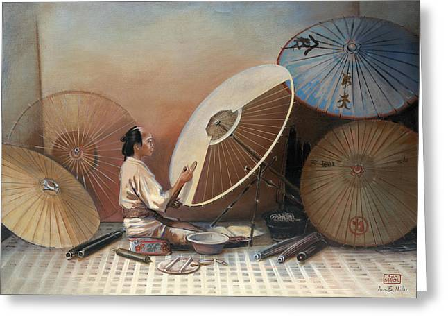 Sienna Greeting Cards - Japanese Umbrella Maker Greeting Card by Ann Miller