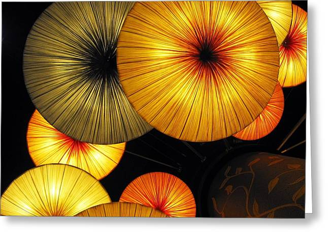Abstract Shapes Greeting Cards - Japanese Umbrellas Greeting Card by Ausra Paulauskaite