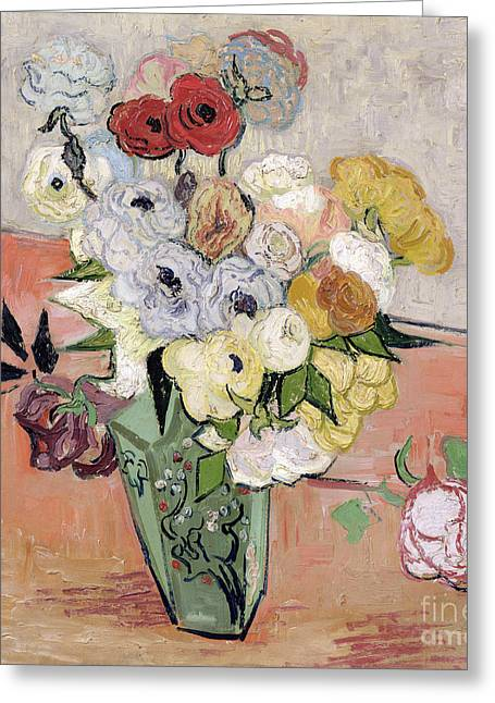 Beauty In Nature Paintings Greeting Cards - Japanese Vase with Roses and Anemones Greeting Card by Vincent van Gogh