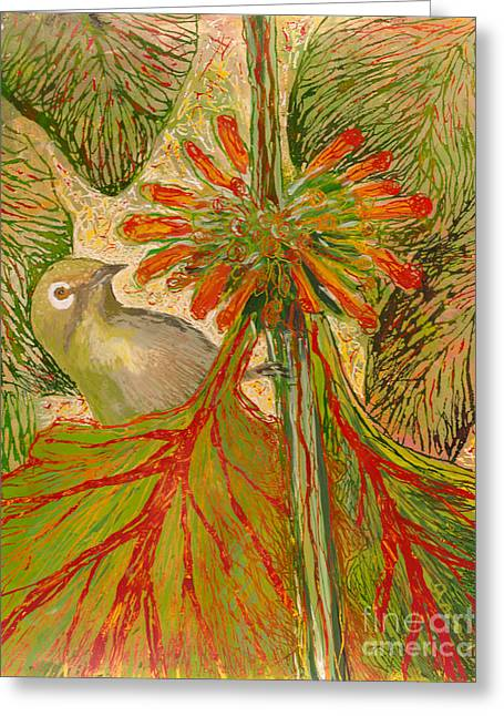 Fauna Glass Art Greeting Cards - Japanese White Eye Greeting Card by Anna Skaradzinska