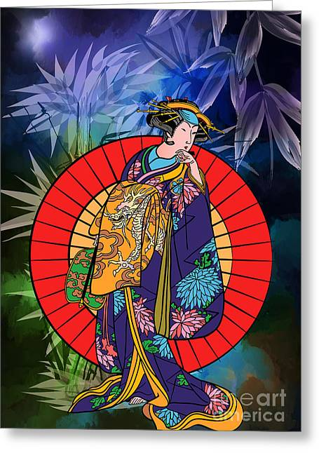 Signed Drawings Greeting Cards - Japanese woman Greeting Card by Andrzej Szczerski