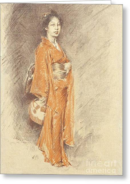 Japanese Woman In Kimono Greeting Card by Pg Reproductions