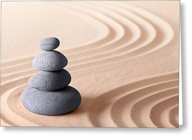 Recently Sold -  - Sand Patterns Greeting Cards - Japanese zen meditation garden Greeting Card by Dirk Ercken
