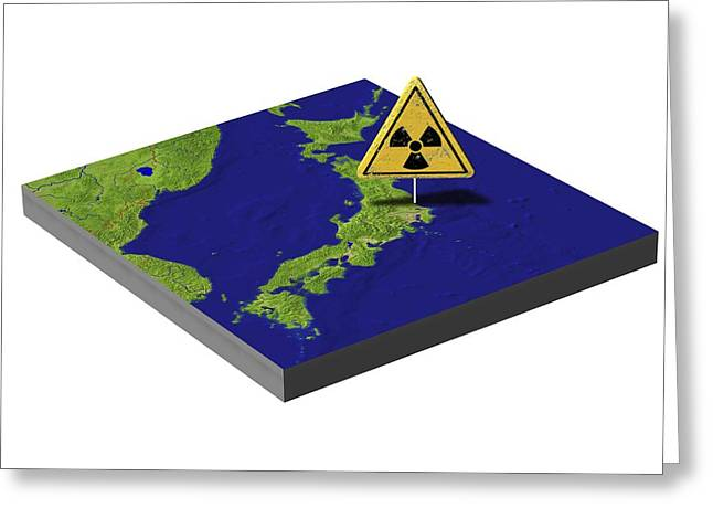 Problem Greeting Cards - Japans nuclear disaster, artwork Greeting Card by Science Photo Library