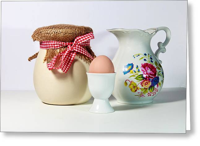 Egg-cup Greeting Cards - Jar and Egg Greeting Card by Cecil Fuselier