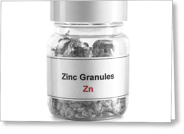 Jar Containing Zinc Granules Greeting Card by Science Photo Library
