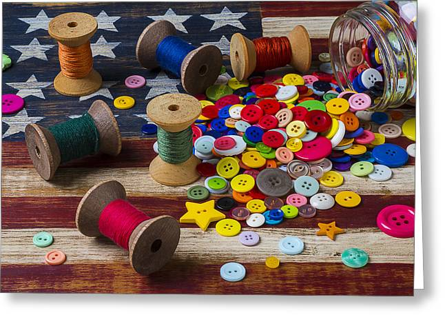 Concept Photographs Greeting Cards - Jar of buttons and spools of thread Greeting Card by Garry Gay