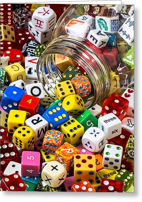 Jars Greeting Cards - Jar of colorful dice Greeting Card by Garry Gay