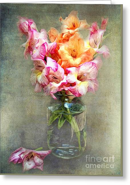 Mason Jars Greeting Cards - Jar of Gladiolas Greeting Card by Lena Auxier