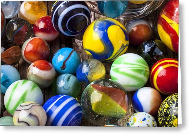 Jar of marbles Greeting Card by Garry Gay