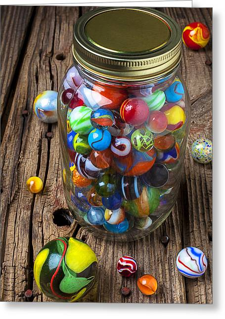 Rusty Nail Greeting Cards - Jar of marbles with shooter Greeting Card by Garry Gay