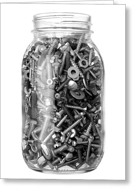 Diy Greeting Cards - Jar of old bolts nuts and screws Greeting Card by Jim Hughes
