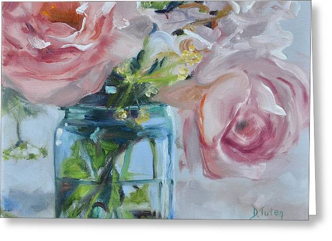 Roses In Bud Greeting Cards - Jar of Pink Greeting Card by Donna Tuten