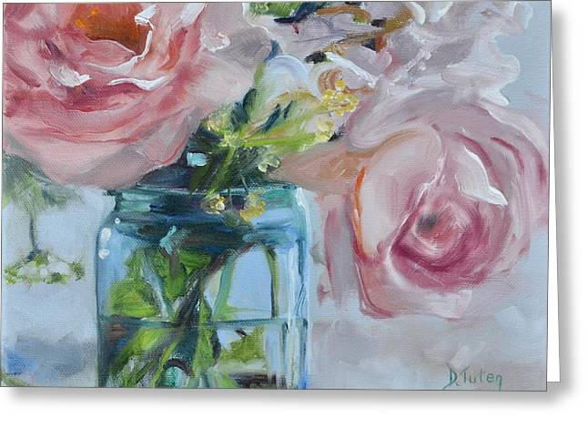 Jar Of Pink Greeting Card by Donna Tuten