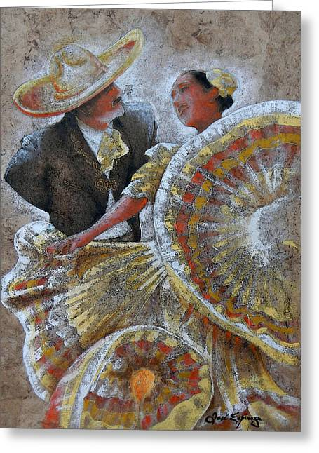 Amate Bark Paper Greeting Cards - Jarabe Tapatio Dance Greeting Card by Jose Espinoza