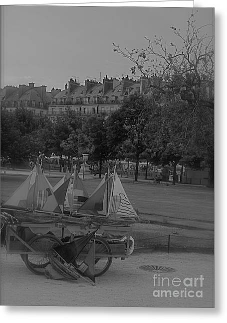 Toy Boat Mixed Media Greeting Cards - Jardin des Tuileries Greeting Card by Louise Fahy
