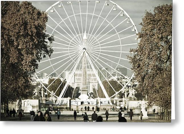 Jardin Des Tuileries Park Paris France Europe  Greeting Card by Jon Boyes