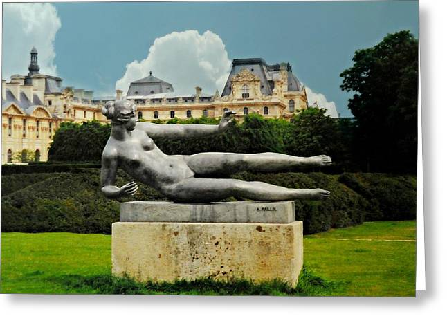 The Tuileries Gardens Greeting Cards - Jardin Tuileries Sculpture Greeting Card by Diana Angstadt