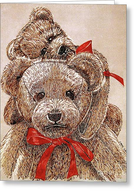 Linda Simon Wall Decor Drawings Greeting Cards - Jareds Bears Greeting Card by Linda Simon