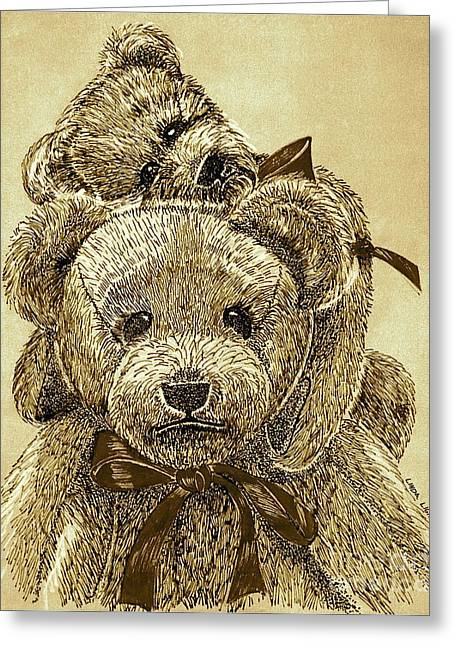 Linda Simon Wall Decor Drawings Greeting Cards - Jareds Bears Sepia Greeting Card by Linda Simon