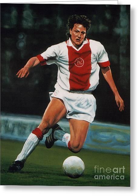 Goal Paintings Greeting Cards - Jari Litmanen Greeting Card by Paul  Meijering