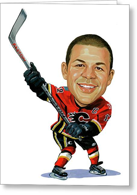 Hockey Paintings Greeting Cards - Jarome Iginla Greeting Card by Art