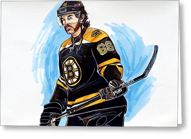 Jaromir Jagr Boston Bruins Greeting Card by Dave Olsen