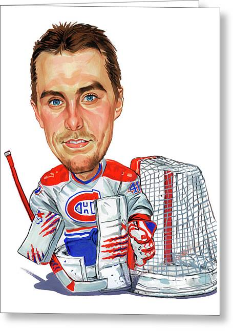 Goalie Paintings Greeting Cards - Jaroslav Halak Greeting Card by Art