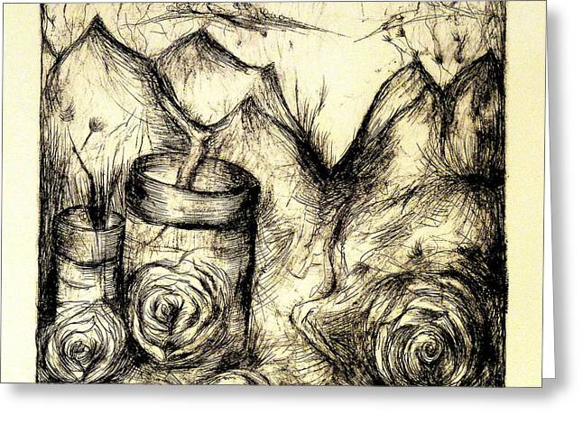 Roses Reliefs Greeting Cards - Jarred Greeting Card by Erica Seckinger