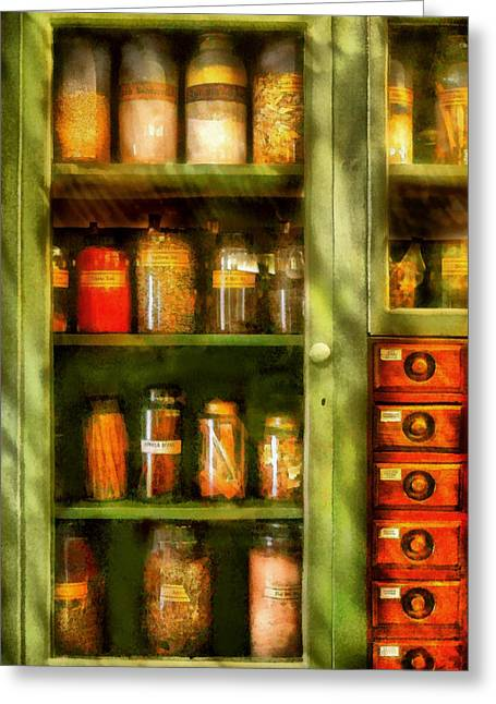 Cabinet Room Greeting Cards - Jars - Ingredients II Greeting Card by Mike Savad