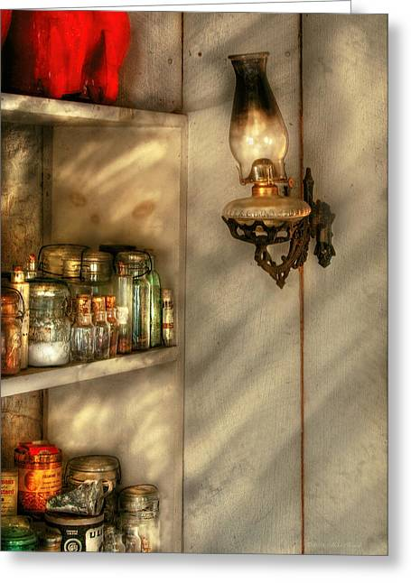 Canned Goods Greeting Cards - Jars - Kitchen Corner Greeting Card by Mike Savad