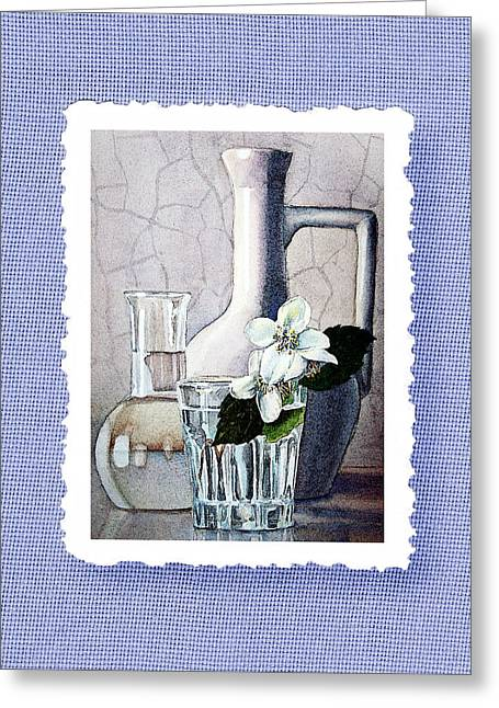 Glass Vase Paintings Greeting Cards - Jasmine Flowers Bouquet On Blue Canvas Greeting Card by Irina Sztukowski