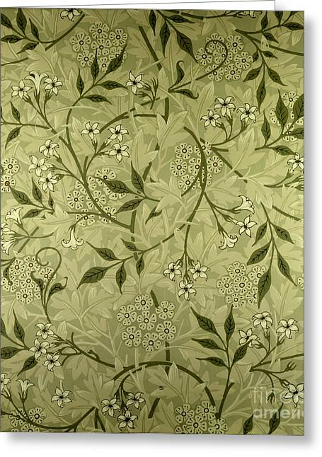 Leaves Tapestries - Textiles Greeting Cards - Jasmine wallpaper design Greeting Card by William Morris