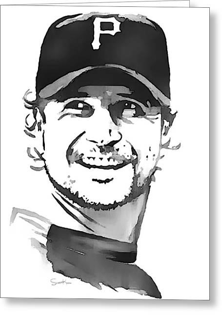 Pittsburgh Pirates Paintings Greeting Cards - Jason Grilli Greeting Card by Scott Karan