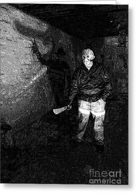 Jason Voorhees Greeting Cards - Jason in his barn Greeting Card by John Gaffen