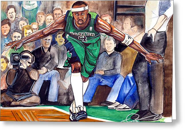 Jason Terry The Jet Greeting Cards - Jason Terry Greeting Card by Dave Olsen