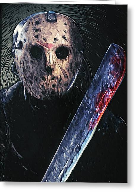 Horror Film Greeting Cards - Jason Voorhees Greeting Card by Taylan Soyturk