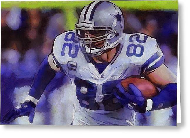 National Mixed Media Greeting Cards - Jason Witten Dallas Cowboys Greeting Card by Dan Sproul