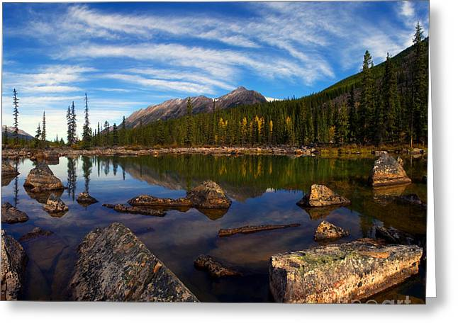 Alberta Water Falls Greeting Cards - Jasper - Autumn Reflections Greeting Card by Terry Elniski