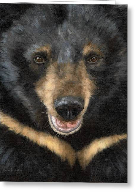 Asiatic Greeting Cards - Jasper Moon Bear - In support of Animals Asia Greeting Card by Rachel Stribbling