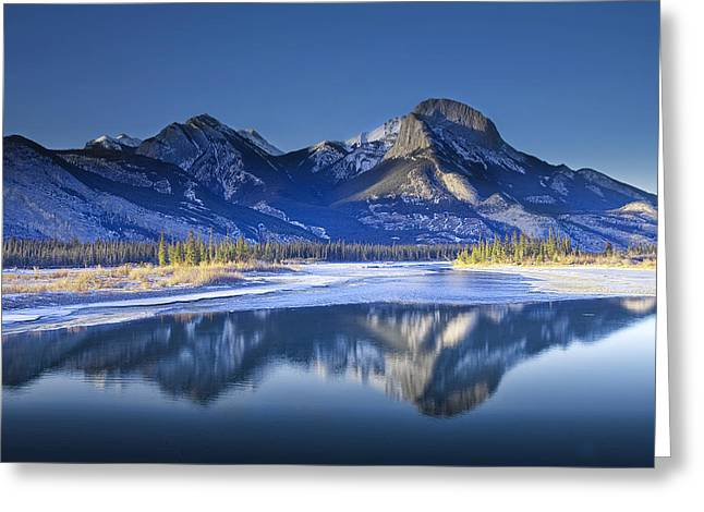 Randy Greeting Cards - Jasper Mountain Range in Winter Greeting Card by Randall Nyhof
