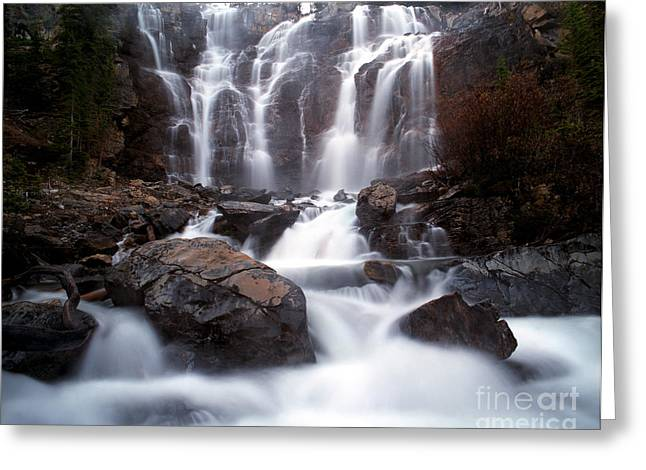 Alberta Water Falls Greeting Cards - Jasper - Tangle Falls Greeting Card by Terry Elniski
