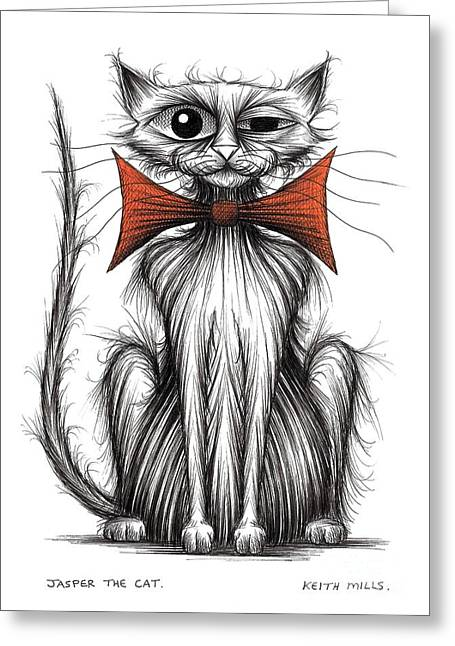 Posh Drawings Greeting Cards - Jasper the cat Greeting Card by Keith Mills