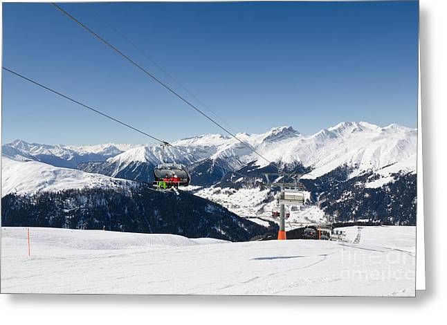 Alpes Greeting Cards - JATZ JAKOBSHORN davos mountains piste Greeting Card by Andy Smy