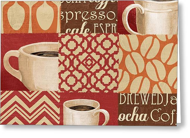 Barista Greeting Cards - Java Collage II Greeting Card by Paul Brent