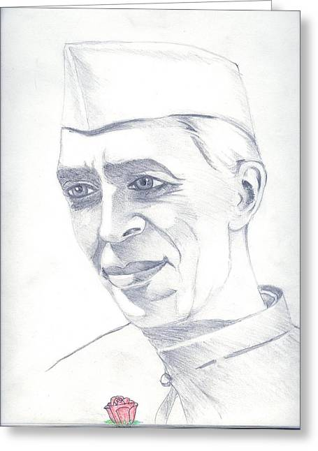 President Of America Drawings Greeting Cards - Jawaharlal Nehru Greeting Card by Tanmay Singh