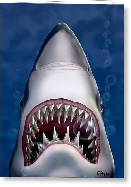 Movie Monsters Greeting Cards - Jaws Great White Shark Art Greeting Card by Walt Curlee
