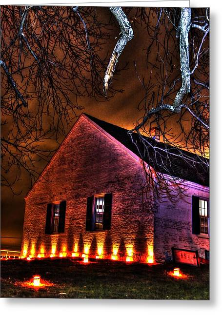 Maryland Campaign Greeting Cards - Jaws of Death or Haven of Rest - The Dunker Church-A1 - Antietam Memorial Illumination Greeting Card by Michael Mazaika