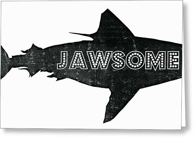 Aquatic Mixed Media Greeting Cards - Jawsome Greeting Card by Michelle Calkins