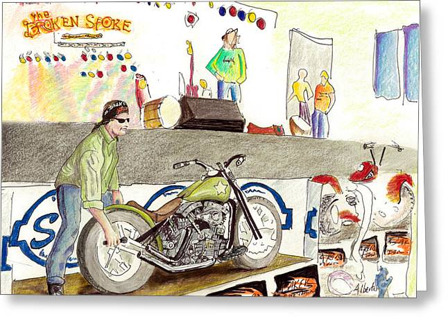 Saloons Drawings Greeting Cards - Jay Allen At The Broken Spoke Saloon Greeting Card by Albert Puskaric